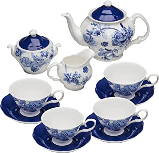 Grace Teaware Bone China 11-Piece Tea Set (Bali Blue)