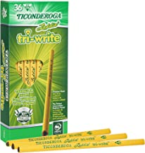 Ticonderoga Laddie Tri-Write Pencils, Wood-Cased #2 HB Soft, Intermediate Size Triangular without Eraser, Yellow, 36-Pack ...