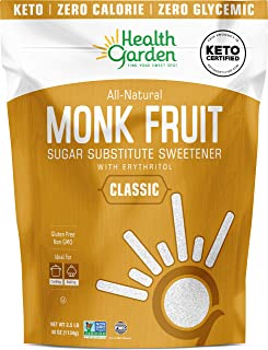 Health Garden Monk Fruit Sweetener, Classic White - Non GMO - Gluten Free - 1:1 Sugar Substitute - Keto Friendly - Taste L...