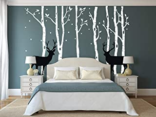 LUCKKYY Birch Tree Deer Wall Decal Forest Birch Trees Birch Trees Vinyl Kids Vinyl Sticker Vinyl Wall Decal Bedroom Kid Baby Nursery Vinyl Removable DIY Decals (Large)
