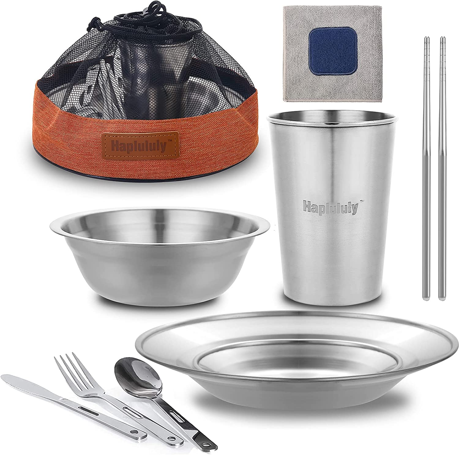 Camping utensils and dishes Max 87% OFF Jacksonville Mall Polished Stainless Steel Dishes Set