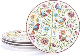 Bico Red Spring Bird Ceramic 8.75 inch Salad Plates Set of 4, for Salad, Appetizer, Microwave & Dishwasher Safe