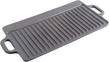 Gibson Home General Store Addlestone 17in x 9in Rectanglar Griddle, Reversible w/ Side Handles, Cast Iron