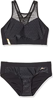 Speedo Women's Mesh Panel 2 Piece Swimsuit, Black/USA Charcoal/Rose Gold, 30 (UK 8)