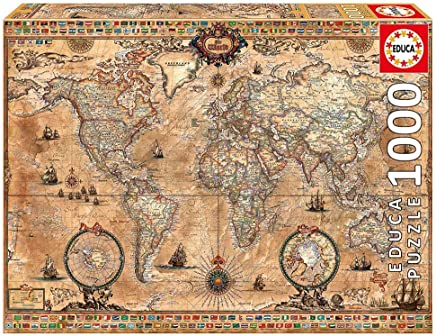 Educa 15159 Antique World Map Puzzle - 6 Years & Above