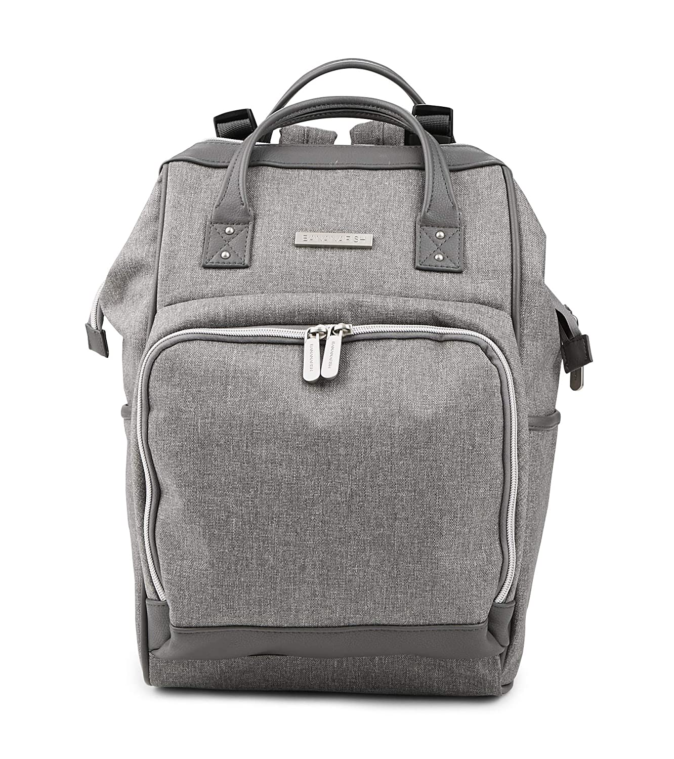 Multi-Function Design Nappy Bag for Baby Care or Travel - Carry or Wear as Backpack - Large Capacity in Trendy, Stylish Design, Light Grey