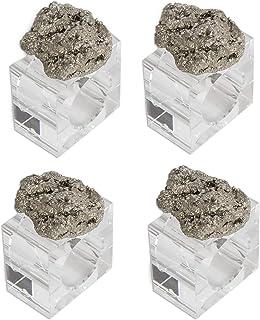 "AMOYSTONE 4Ppcs Square Acrylic Napkin Rings Crystal Napkin Holder Decorative Unpolished Natural Pyrite 2.5"""