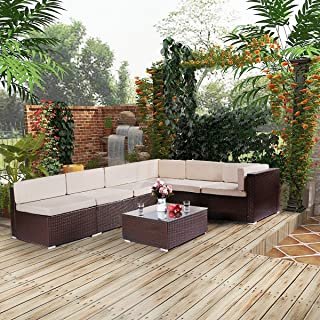 Esright 7 Pieces Patio PE Rattan Wicker Sofa Sectional Furniture Wicker Chair Conversation Set with Cushions and Glass Top Tea Table,Brown
