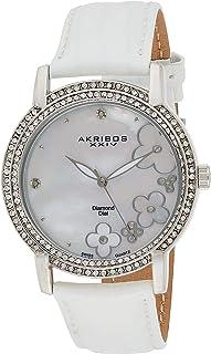 Akribos XXIV Women's Swiss Quartz Diamond Watch-Dial Applied Flower Dial - Crystal Bezel - Genuine Leather Strap