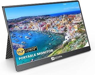 モバイルモニター 17.3インチ モバイルディスプレイ 1920x1080解像度 IPS液晶パネル スイッチ用モニター USB Type-C/Mini HDMI/内蔵スピーカー/スタンド付 軽量 PS4/XBOX/Switch/PC/Mac対応...