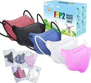 FFP2 Maske Bunt CE Zertifiziert 20 Stück - 5 Farbe Masken Rosa Schwarz Rot Blau Weiß - 4 Lagig Farbige FFP2 Maske Atemschu...