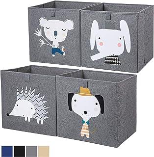 AXHOP Washable Storage Bins Storage Cubes [4-Pack] 13 ×13 Collapsible Storage Bins for Shelf, Storage Baskets for Shelf, B...