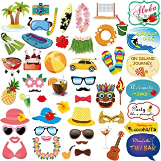 Konsait Hawaiian Photo Booth (53Count), Luau Photo Booth Props with Sticks for Adults Kids Tropical Decor Hawaiian Tiki Holiday Beach Party Supplies for Luau Party Summer Pool Favors Decorations