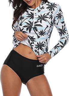 Best Women Rash Guard Long Sleeve Zipper Bathing Suit with Built in Bra Swimsuit UPF 50 Review
