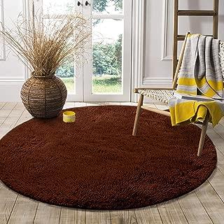 LOCHAS Round Area Rug (4x4 Feet), Super Soft Living Room Bedroom Rugs Fluffy Carpet for Kids Nursery Tent, Brown