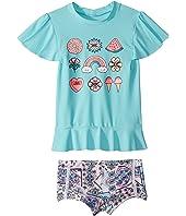 Candy Pop Short Sleeve Rashie Set (Infant/Toddler/Little Kids)