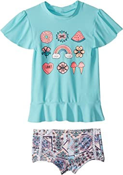 Seafolly Kids - Candy Pop Short Sleeve Rashie Set (Infant/Toddler/Little Kids)