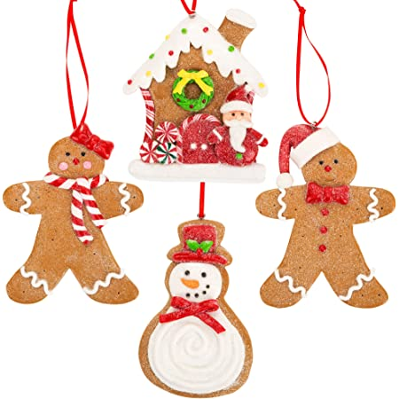 Amazon Com Gingerbread Christmas Ornaments Man Boy Girl Gingerbread House Snowman Cookie Rustic Christmas Decorations Set Of 4 Claydough Christmas Tree Decorations Christmas Tree Ornaments With Gift Box Kitchen Dining