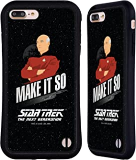 Official Star Trek Make It So Picard Iconic Phrases TNG Hybrid Case Compatible for iPhone 7 Plus/iPhone 8 Plus