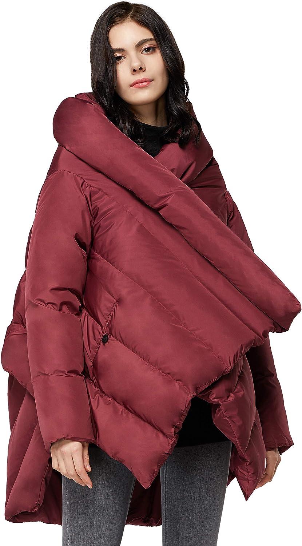 Orolay Damen Puffer Daunenmantel Stillvolle Umhangjacke Rot