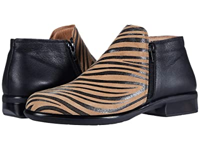 Naot Helm (Tan Zebra Suede/Soft Black Leather) Women