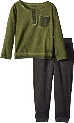 Hudson Kids - Two-Piece Henley Top w/ Jogger Pants Set (Toddler)