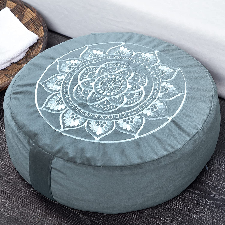 "Florensi Meditation Cushion (16""x16""x5""), Large Velvet Meditation Pillow, Premium Yoga Pillow for Women and Men, Yoga Cushion, Meditation Pillows for Sitting on Floor, Buckwheat Meditation Cushions: Kitchen & Dining"