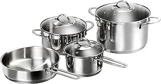 Karcher 125440 Batería de Cocina Jana, Incl. Tapas de Cristal, Apta para inducción, 4 Piezas, Acero Inoxidable
