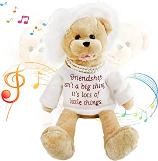 Houwsbaby Electronic Lady Teddy Bear Musical Stuffed Animal Singing and Swinging Plush Toy Interactive Animated Kids Gift Mother's Day Halloween Christmas, 20 in (White)