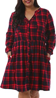 Nemidor Women's Casual V-Neck Long Sleeve Grid Stretchy Dress Plus Size Front Button Loose Dress with Pockets NEM229