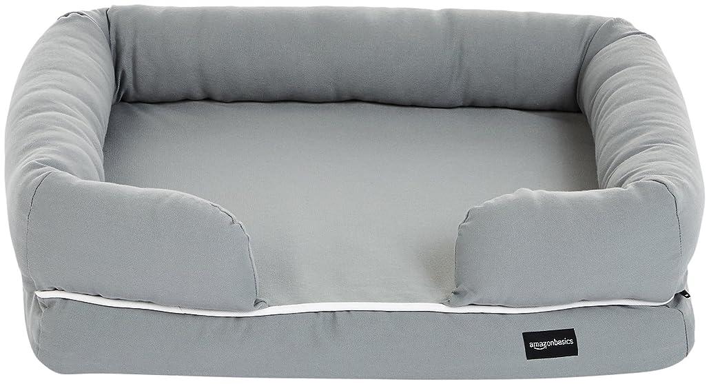 検査官コンソール構成するAmazonベーシック ペットソファ 枕つき ラウンジベッド 小型ペット 64 x 51 x 17cm グレー