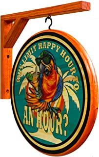 Beach Design Signs Happy Hour Parrot Pub Sign - 15 inch Diameter Wooden 2 Sided Sign. Includes Wood Hanging Bracket
