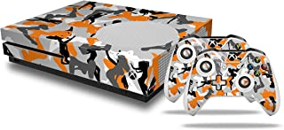 Sexy Girl Silhouette Camo Orange - Decal Style Skin Set fits XBOX One S Console and 2 Controllers (XBOX SYSTEM SOLD SEPARATELY)