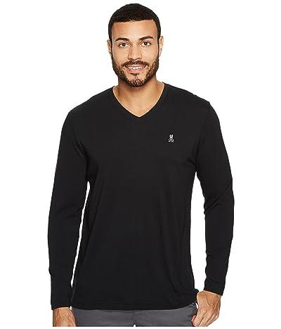 Psycho Bunny V-Neck Long Sleeve T-Shirt (Black) Men