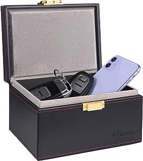 TICONN Faraday Box, Car Key Fob Protector, PU Leather Signal Blocker for Keyless Fob, RFID Signal Blocking Pouch Cage