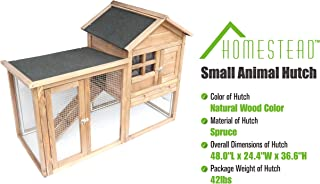 Homestead 86-438 Solid Spruce Wood Easy to Assemble Small Animal Hutch with Heavy-Duty latches and an Asphalt roof, Assembled Dimensions 48.0
