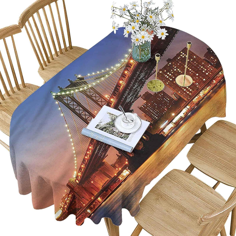 New York Polyester Oval Tablecloth Bridge Pat Night at Manhattan Miami Mall Max 63% OFF