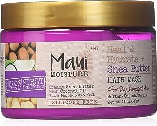 Maui Moisture Shea Butter Hair Mask 12 Ounce Jar (Heal/Hydrate) (354ml) (2 Pack)