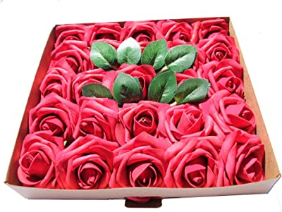 CAL Farms Dark Red Artificial Roses Made of Foam for Weddings, Baby Showers, Bouquets, and Home Decor (25 Count)