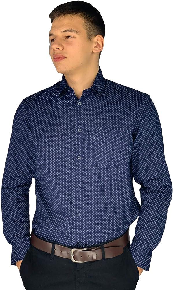 Pierre cardin, camicia da uomo a quadri, maniche lunghe, 65% poliestere, 35% cotone, navy/white geo