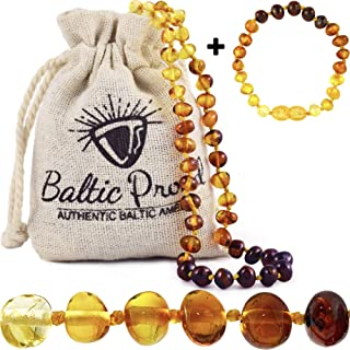 Baltic Amber Necklace and Bracelet Anklet Gift Set (Unisex Rainbow) Alternative Pain Relief – Certified Premium Quality Raw Baltic Sea Amber