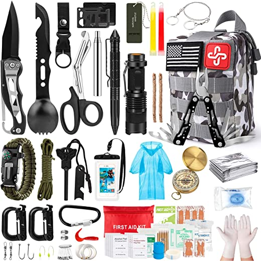 Survival Kit, 220Pcs Emergency Survival Gear First Aid Kit Molle System Compatible Outdoor Survival Gear,Emergency Kits with Black Trauma Bag for Camping Boat Hunting Hiking and Adventures,Perfect Gift for Men