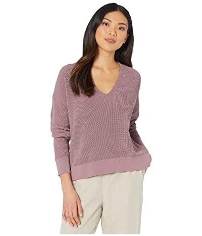 Eileen Fisher Organic Cotton Cord V-Neck Box-Top (Mauve) Women