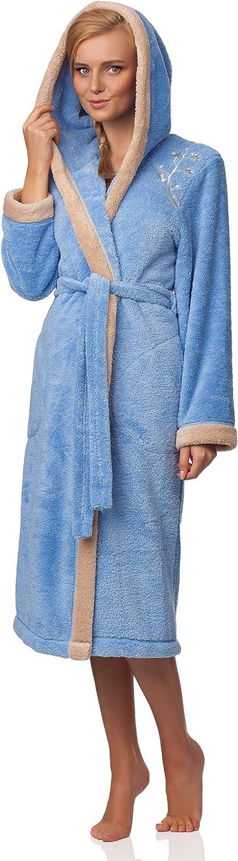 L&L Damen Bademantel mit Kapuze LL0030 Blau