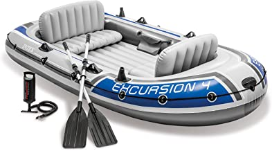 Intex Excursion 4, 4-Person Inflatable Boat Set with Aluminum Oars and High Output Air Pump (Latest Model)