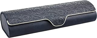 Hard shell glasses case with floral embossment - faux leather glasses case with magnetic closure