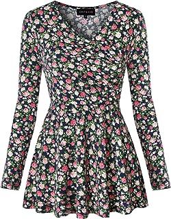 Women's Elegant V Neck Peplum Tops Cap Sleeve Cross Wrap Shirt Slim Fit Casual Tunic Blouse