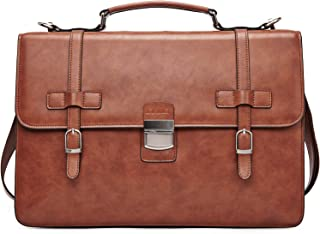 Ronts Men/'s PU Leather Briefcase Lawyer Attache Case with Lock Business Handb...