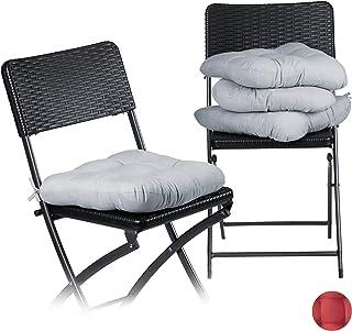 Relaxdays 10020806 Coussin de chaise lot de 4 lavable 10 cm épaisseur doux moelleux pour siège de jardin à nouer 40 x 40 c...