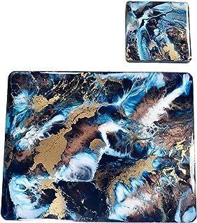 Sets de table en résine, bleu, or et bronze